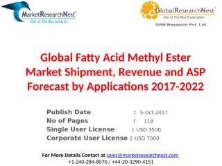 Global Fatty Acid Methyl Ester Market Shipment, Revenue and ASP Forecast by Applications 2017-2022.pptx