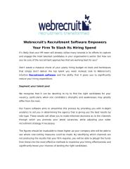 Webrecruit's Recruitment Software Empowers Your Firm To Slash Its Hiring Spend .pdf